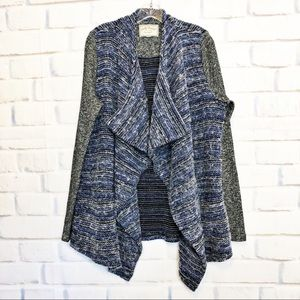 Lucky Brand Sweater Mixed Wrap Open Front Cardigan